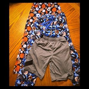 2 pairs of PJ pants & 1 pair of Russell shorts